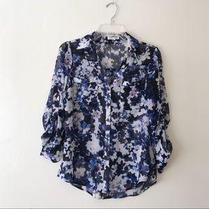 Express floral print sheer portofino shirt